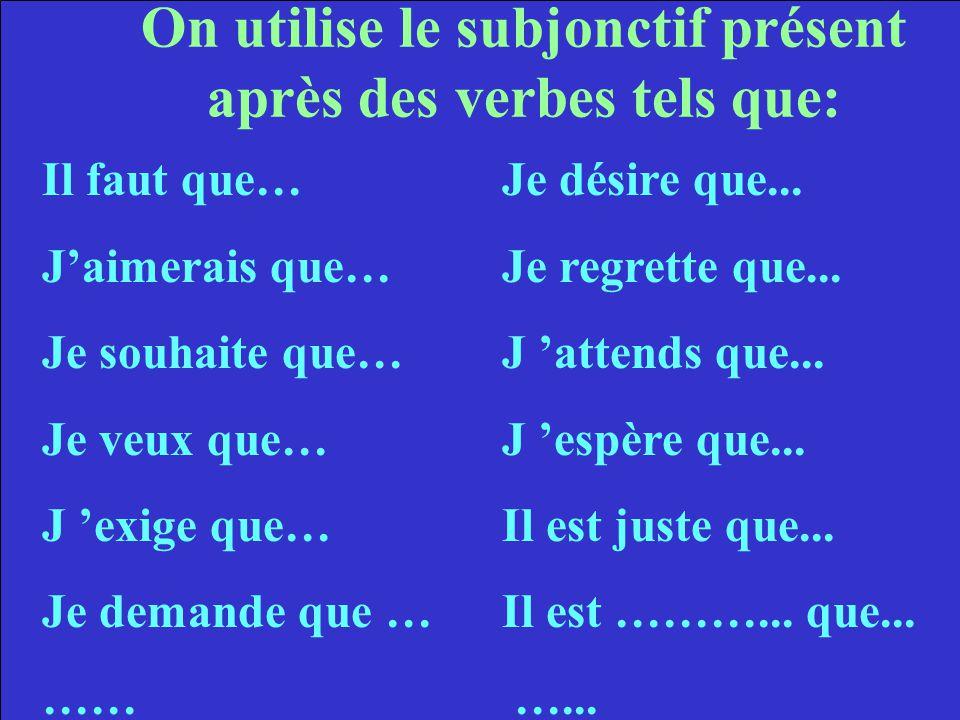 On utilise le subjonctif présent après des verbes tels que: Il faut que…Je désire que...