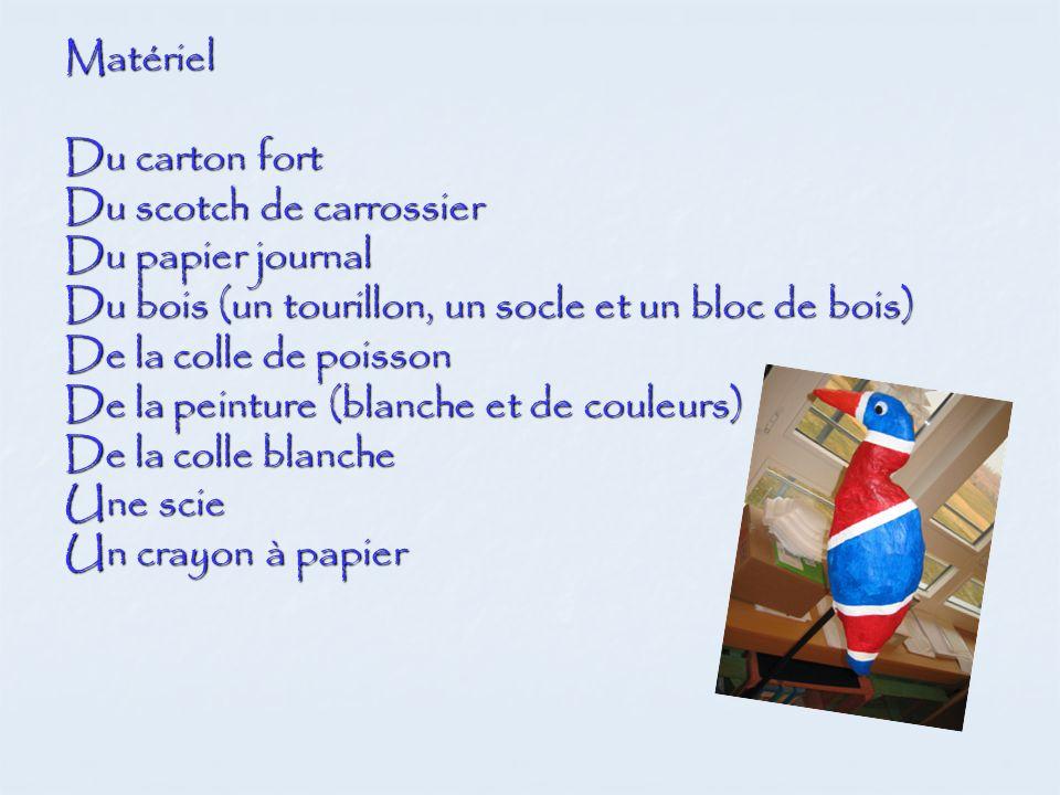 Matériel Du carton fort Du scotch de carrossier Du papier journal Du bois (un tourillon, un socle et un bloc de bois) De la colle de poisson De la pei