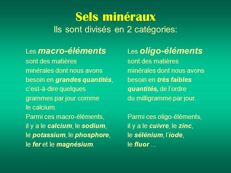 Sels minéraux Ils sont divisés en 2 catégories: Les macro-éléments sont des matières minérales dont nous avons besoin en grandes quantités, cest-à-dire quelques grammes par jour comme le calcium.