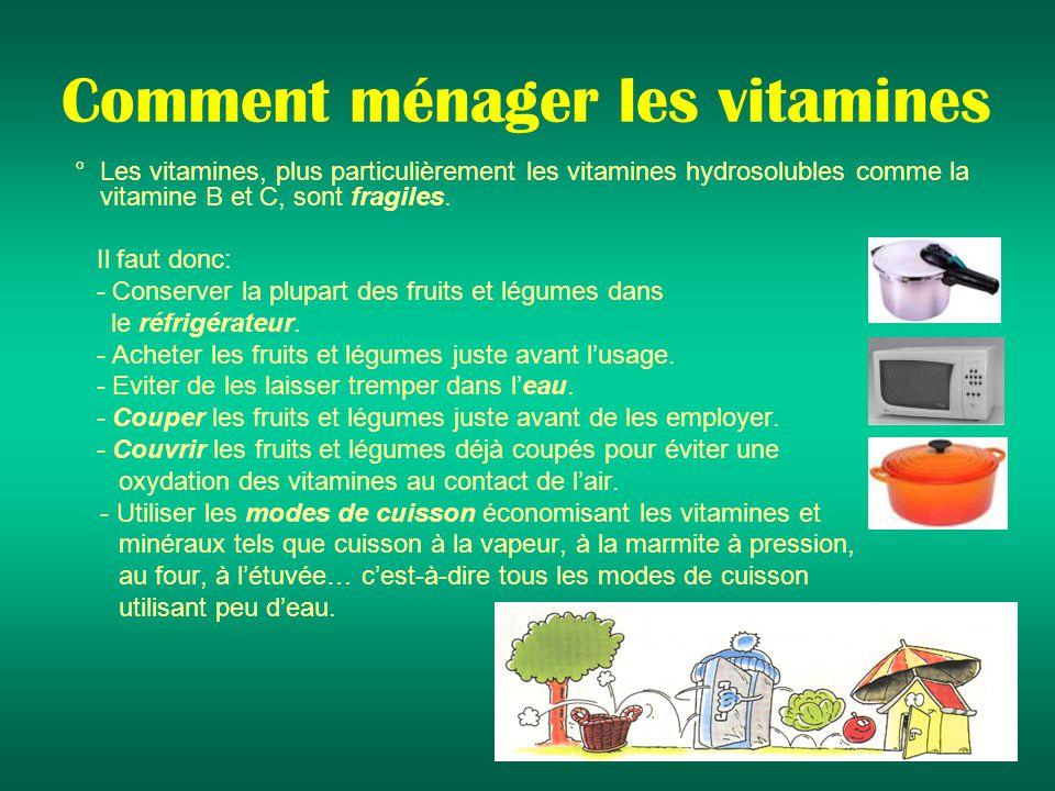 Comment ménager les vitamines ° Les vitamines, plus particulièrement les vitamines hydrosolubles comme la vitamine B et C, sont fragiles.