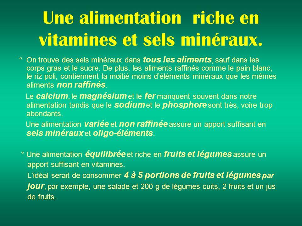 Une alimentation riche en vitamines et sels minéraux.