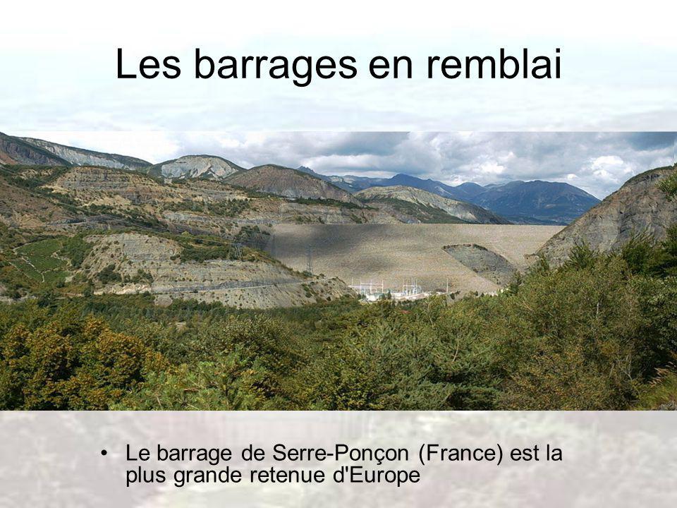 Les barrages en remblai Le barrage de Serre-Ponçon (France) est la plus grande retenue d'Europe