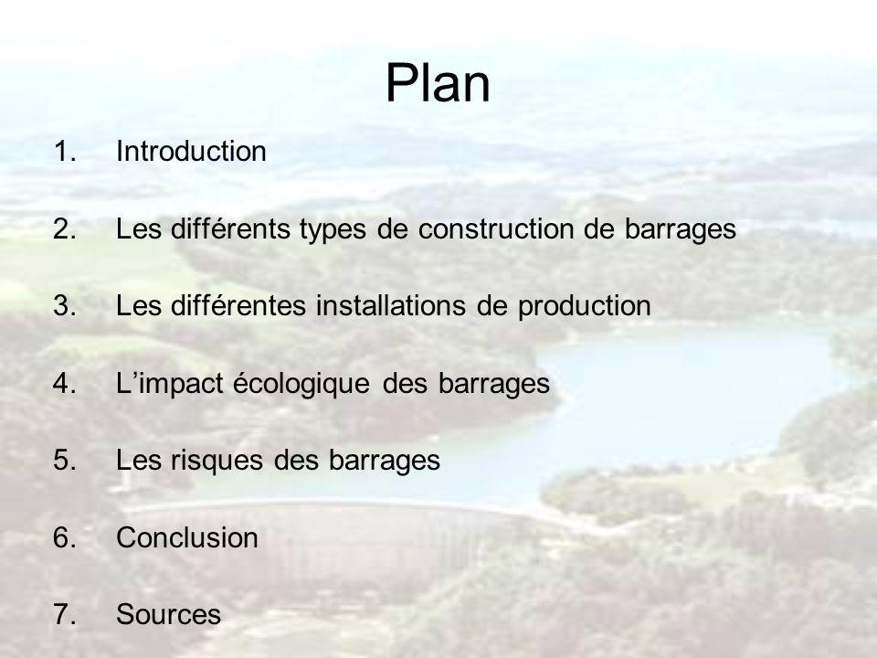 Plan 1.Introduction 2.Les différents types de construction de barrages 3.Les différentes installations de production 4.Limpact écologique des barrages