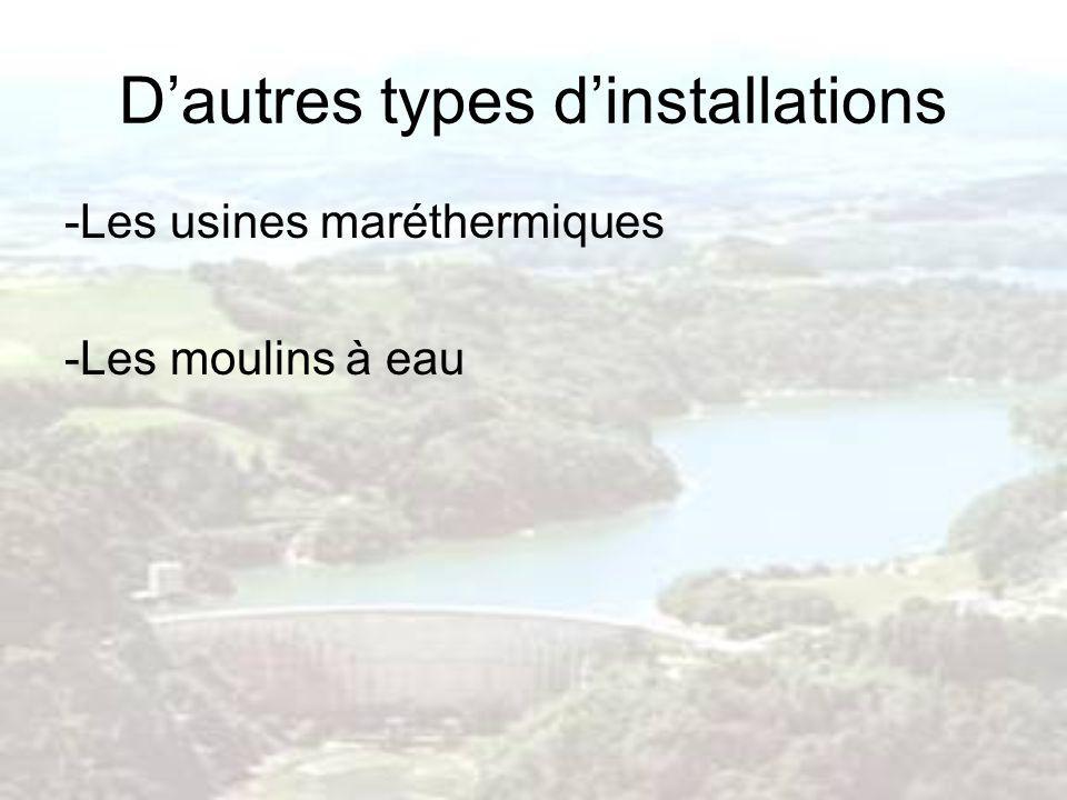 Dautres types dinstallations -Les usines maréthermiques -Les moulins à eau