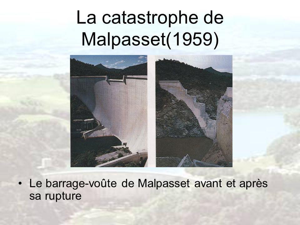 La catastrophe de Malpasset(1959) Le barrage-voûte de Malpasset avant et après sa rupture