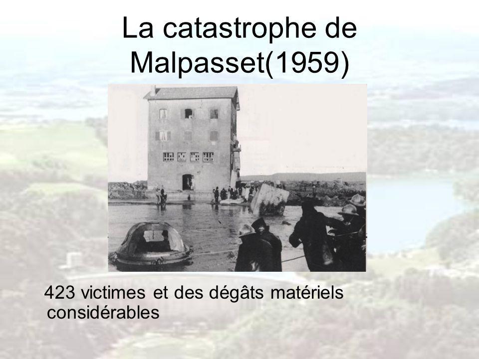 La catastrophe de Malpasset(1959) 423 victimes et des dégâts matériels considérables
