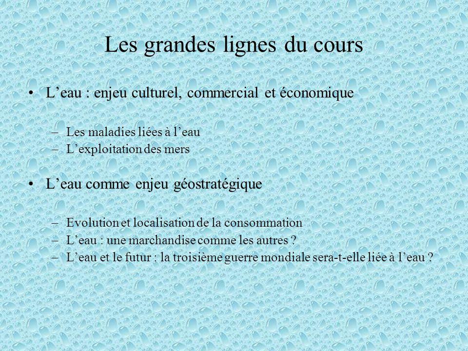 Les grandes lignes du cours Leau : enjeu culturel, commercial et économique –Les maladies liées à leau –Lexploitation des mers Leau comme enjeu géostr