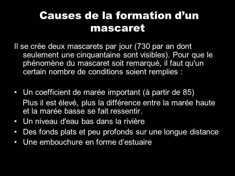 Causes de la formation dun mascaret Il se crée deux mascarets par jour (730 par an dont seulement une cinquantaine sont visibles). Pour que le phénomè