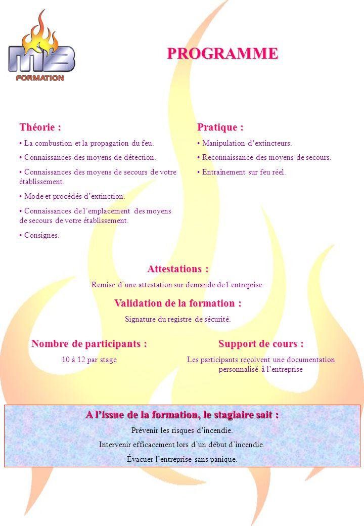 PROGRAMME Théorie : La combustion et la propagation du feu.