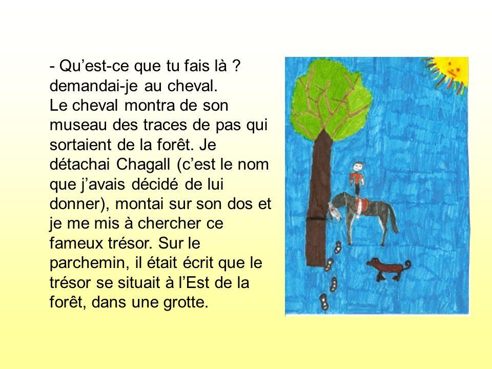 Sur le parchemin, il était écrit que le trésor se situait à lEst de la forêt, dans une grotte.