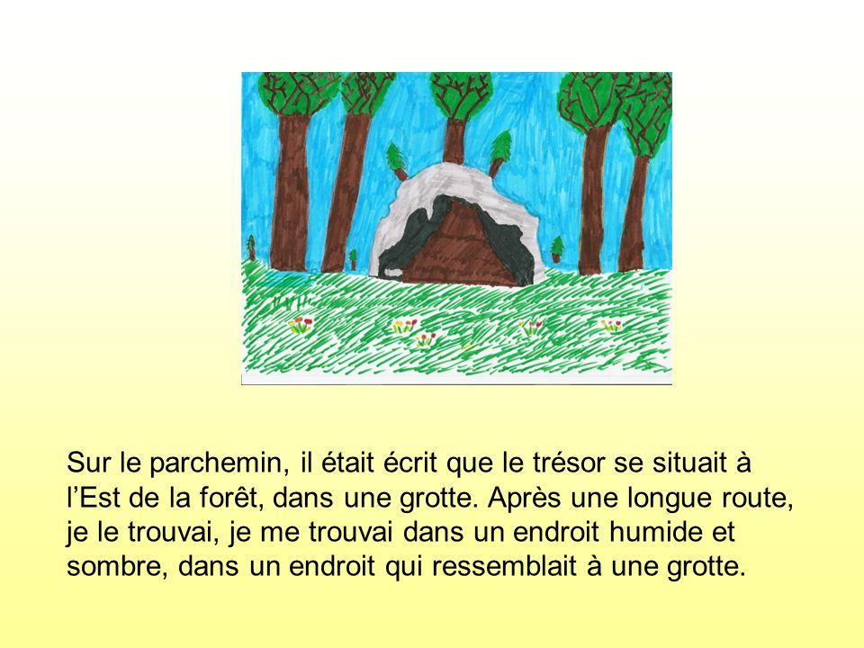 Sur le parchemin, il était écrit que le trésor se situait à lEst de la forêt, dans une grotte. Après une longue route, je le trouvai, je me trouvai da