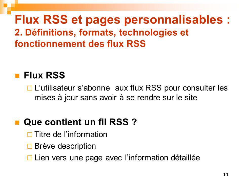 Flux RSS et pages personnalisables : 2. Définitions, formats, technologies et fonctionnement des flux RSS Flux RSS Lutilisateur sabonne aux flux RSS p