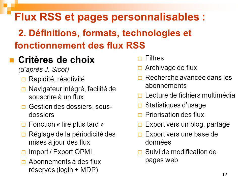 Flux RSS et pages personnalisables : 2. Définitions, formats, technologies et fonctionnement des flux RSS Critères de choix (daprès J. Sicot) Rapidité