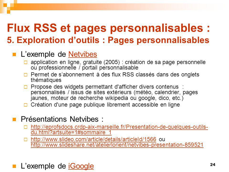 Flux RSS et pages personnalisables : 5. Exploration doutils : Pages personnalisables Lexemple de NetvibesNetvibes application en ligne, gratuite (2005