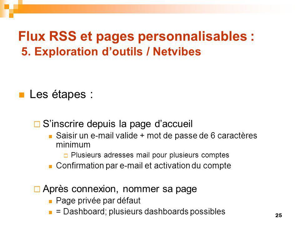 Flux RSS et pages personnalisables : 5. Exploration doutils / Netvibes Les étapes : Sinscrire depuis la page daccueil Saisir un e-mail valide + mot de