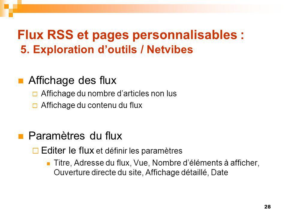 Flux RSS et pages personnalisables : 5. Exploration doutils / Netvibes Affichage des flux Affichage du nombre darticles non lus Affichage du contenu d