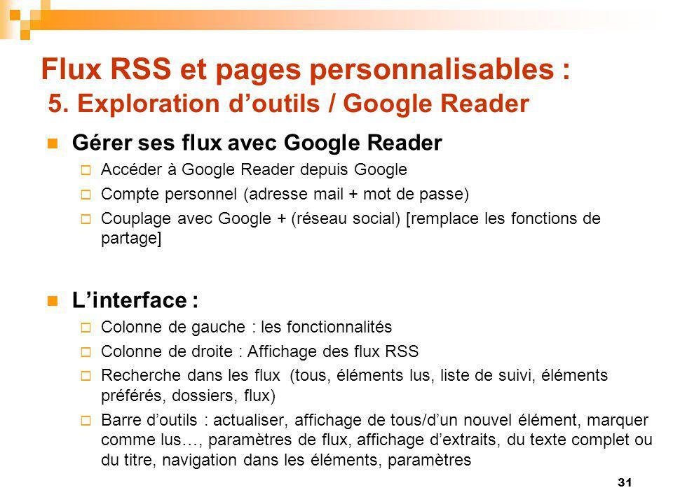 Flux RSS et pages personnalisables : 5. Exploration doutils / Google Reader Gérer ses flux avec Google Reader Accéder à Google Reader depuis Google Co