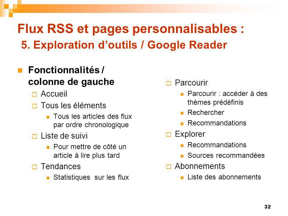 Flux RSS et pages personnalisables : 5. Exploration doutils / Google Reader Fonctionnalités / colonne de gauche Accueil Tous les éléments Tous les art