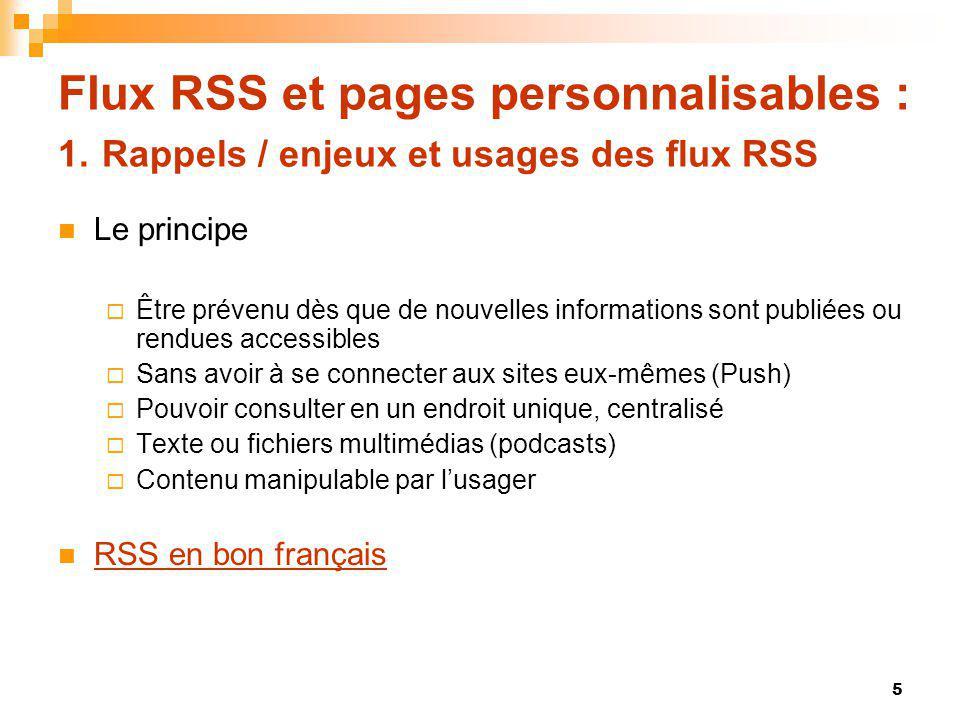 Flux RSS et pages personnalisables : 5. Exploration doutils / Google Reader 36