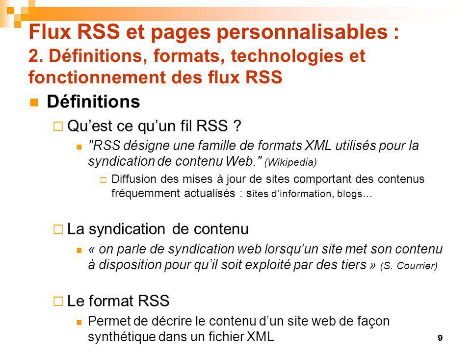 Flux RSS et pages personnalisables : 4.