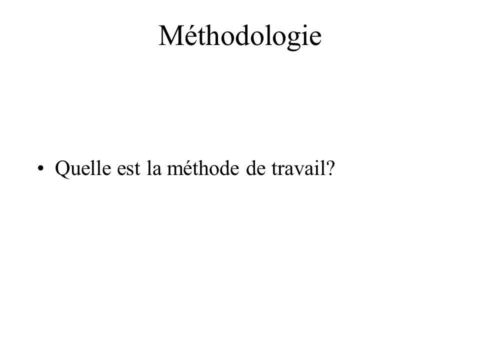 Méthodologie Quelle est la méthode de travail?