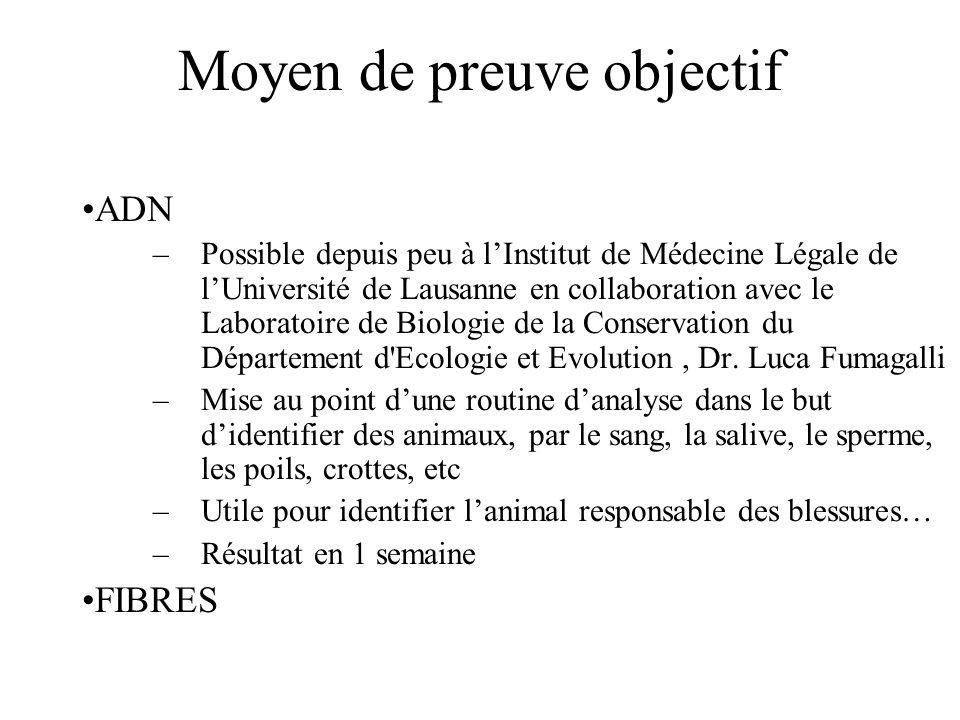 Moyen de preuve objectif ADN –Possible depuis peu à lInstitut de Médecine Légale de lUniversité de Lausanne en collaboration avec le Laboratoire de Biologie de la Conservation du Département d Ecologie et Evolution, Dr.