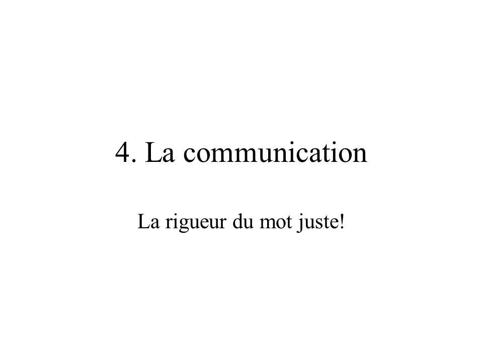4. La communication La rigueur du mot juste!