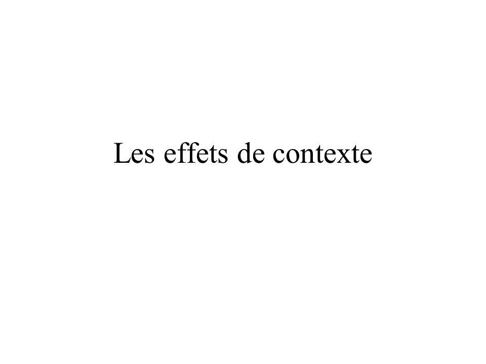 Les effets de contexte