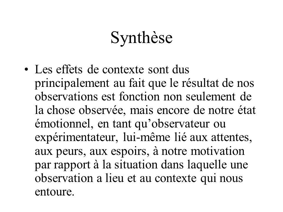 Synthèse Les effets de contexte sont dus principalement au fait que le résultat de nos observations est fonction non seulement de la chose observée, m