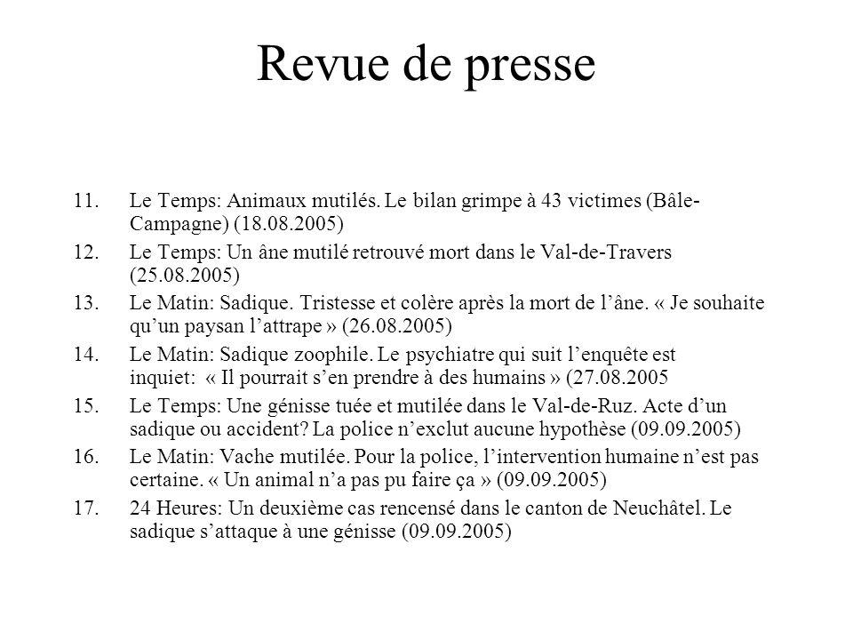 Revue de presse 11.Le Temps: Animaux mutilés.