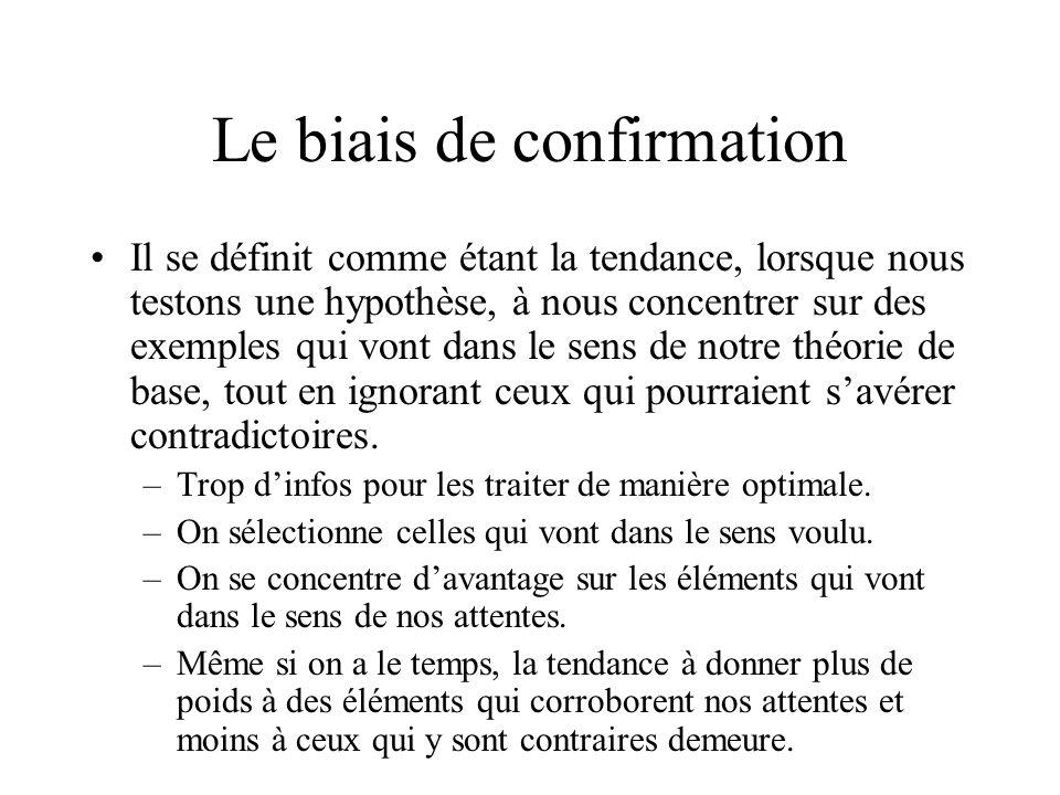 Le biais de confirmation Il se définit comme étant la tendance, lorsque nous testons une hypothèse, à nous concentrer sur des exemples qui vont dans le sens de notre théorie de base, tout en ignorant ceux qui pourraient savérer contradictoires.