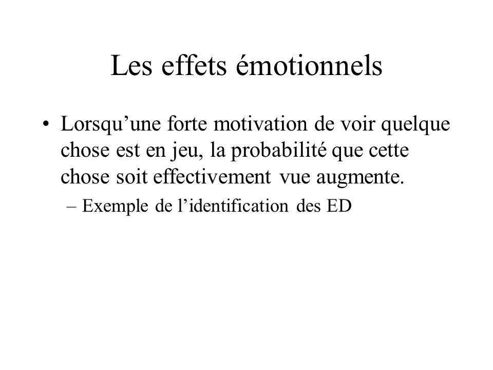 Les effets émotionnels Lorsquune forte motivation de voir quelque chose est en jeu, la probabilité que cette chose soit effectivement vue augmente. –E
