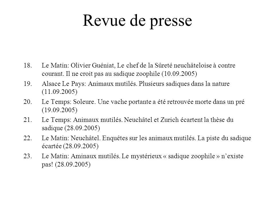Revue de presse 18.Le Matin: Olivier Guéniat, Le chef de la Sûreté neuchâteloise à contre courant.