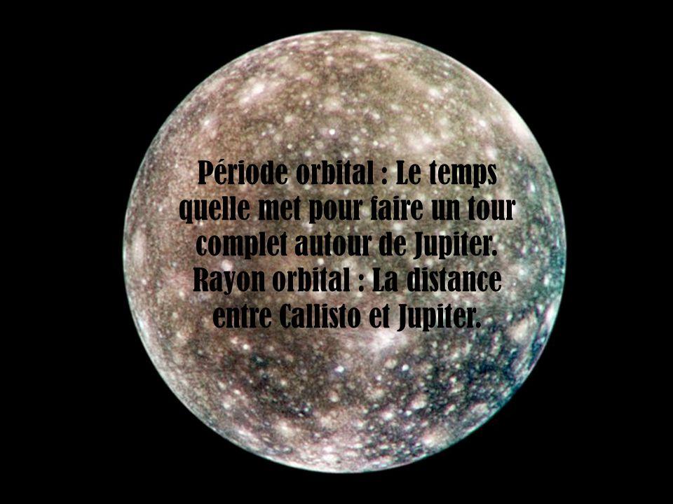 Période orbital : Le temps quelle met pour faire un tour complet autour de Jupiter. Rayon orbital : La distance entre Callisto et Jupiter.