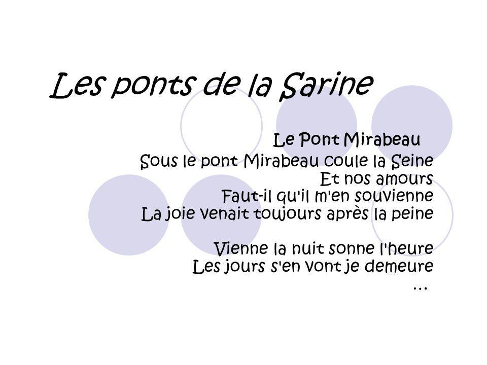 Les ponts de la Sarine Le Pont Mirabeau Sous le pont Mirabeau coule la Seine Et nos amours Faut-il qu'il m'en souvienne La joie venait toujours après