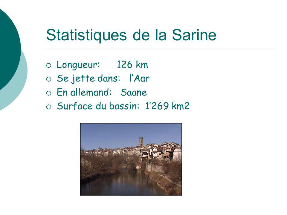 Statistiques de la Sarine Longueur: 126 km Se jette dans: lAar En allemand: Saane Surface du bassin: 1269 km2