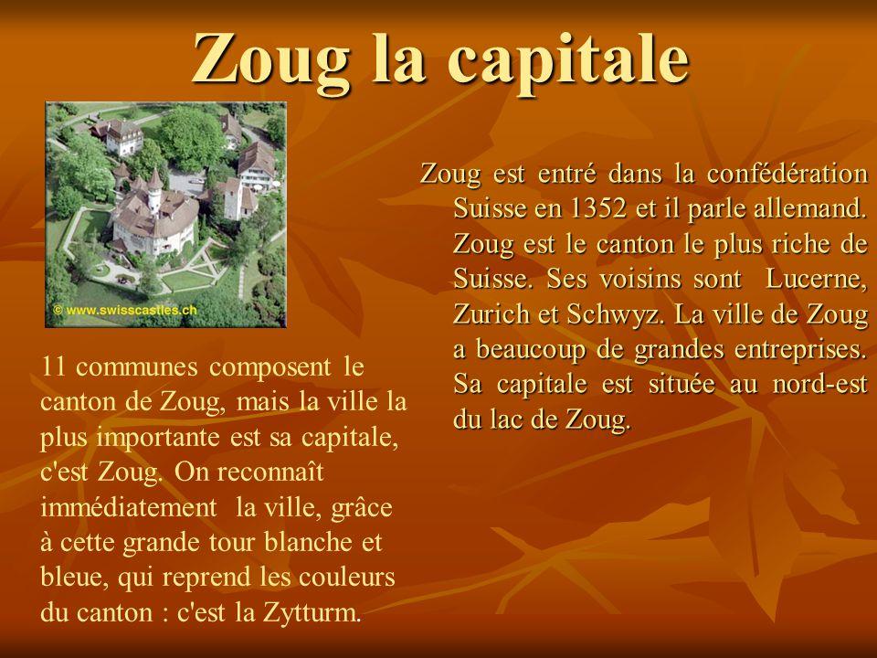 Zoug la capitale Zoug est entré dans la confédération Suisse en 1352 et il parle allemand. Zoug est le canton le plus riche de Suisse. Ses voisins son