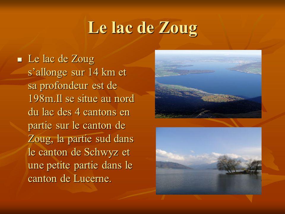 Le lac de Zoug Le lac de Zoug sallonge sur 14 km et sa profondeur est de 198m.Il se situe au nord du lac des 4 cantons en partie sur le canton de Zoug