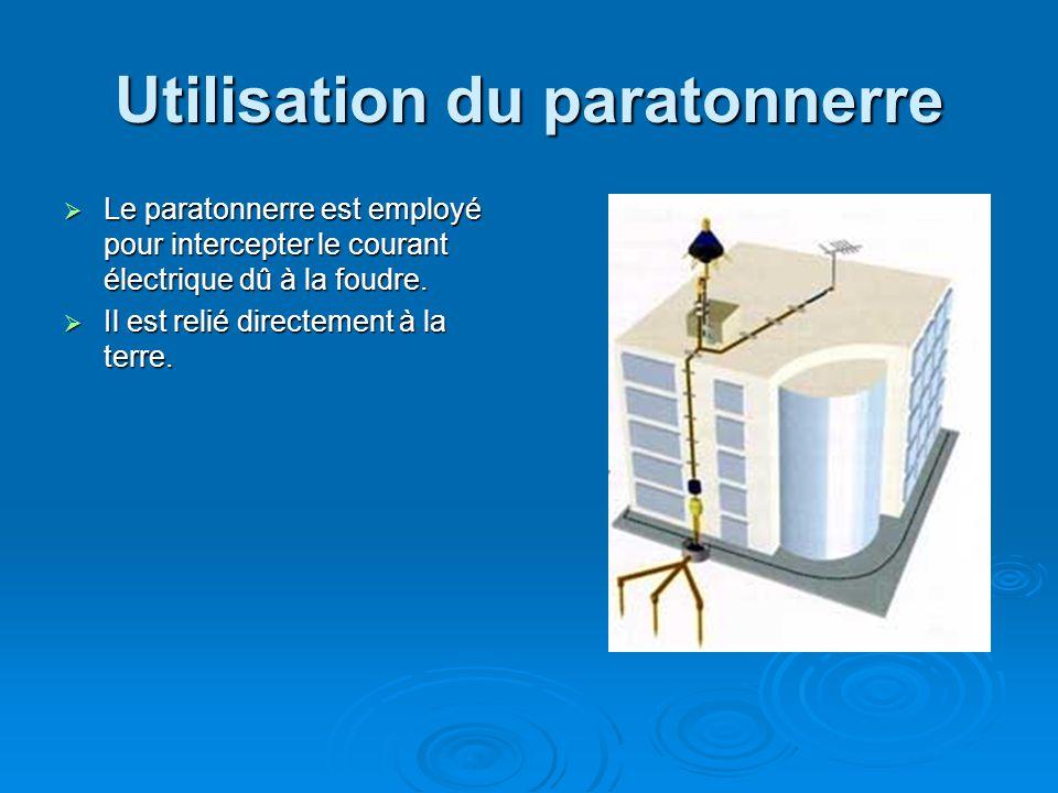 Utilisation du paratonnerre Le paratonnerre est employé pour intercepter le courant électrique dû à la foudre.