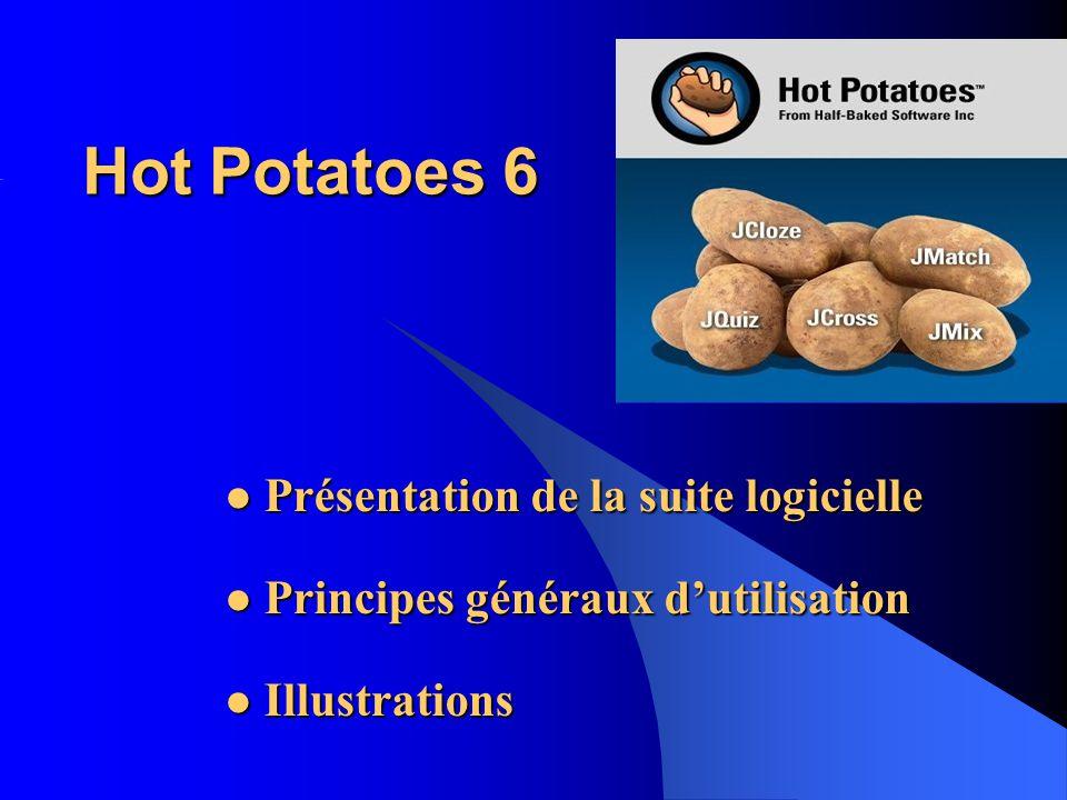 Hot Potatoes 6 Présentation de la suite logicielle Présentation de la suite logicielle Principes généraux dutilisation Principes généraux dutilisation Illustrations Illustrations