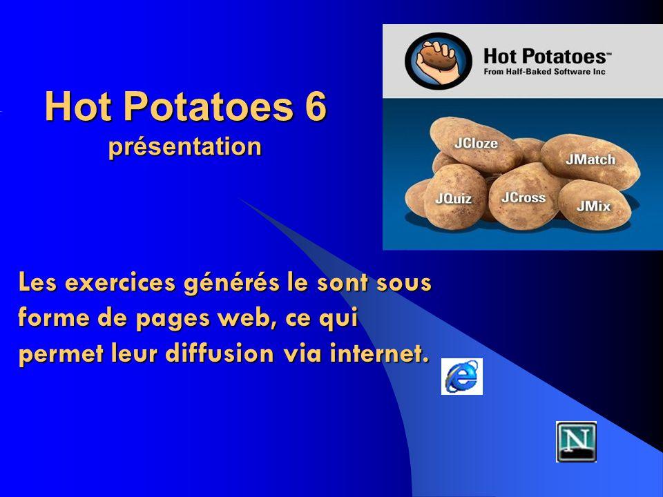 Hot Potatoes 6 présentation Les exercices générés le sont sous forme de pages web, ce qui permet leur diffusion via internet.