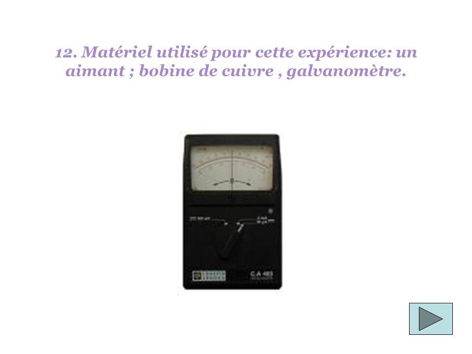 12. Matériel utilisé pour cette expérience: un aimant ; bobine de cuivre, galvanomètre.
