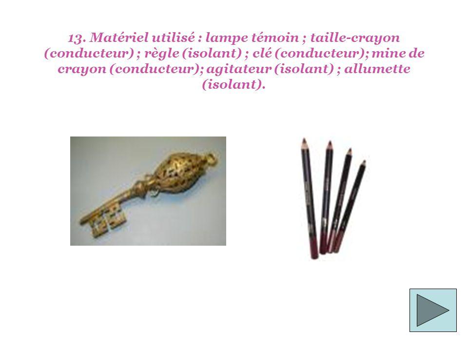 13. Matériel utilisé : lampe témoin ; taille-crayon (conducteur) ; règle (isolant) ; clé (conducteur); mine de crayon (conducteur); agitateur (isolant