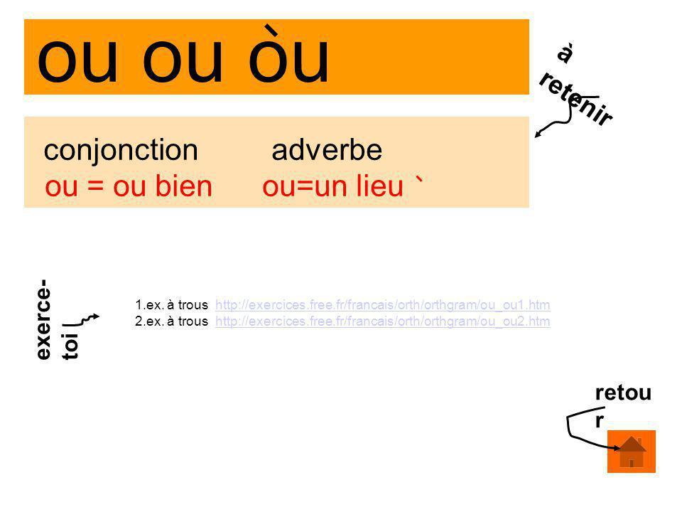 ou ou ou conjonction adverbe ou = ou bien ou=un lieu à retenir 1.ex. à trous http://exercices.free.fr/francais/orth/orthgram/ou_ou1.htmhttp://exercice