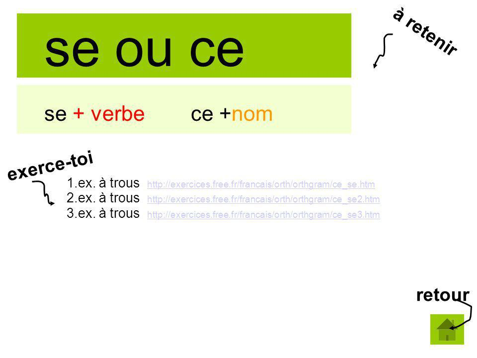 se ou ce se + verbe ce +nom 1.ex. à trous http://exercices.free.fr/francais/orth/orthgram/ce_se.htm http://exercices.free.fr/francais/orth/orthgram/ce