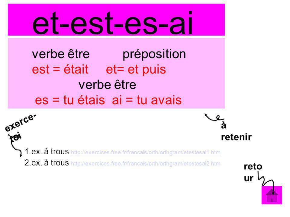 exerce- toi et-est-es-ai verbe être préposition est = était et= et puis verbe être es = tu étais ai = tu avais 1.ex. à trous http://exercices.free.fr/