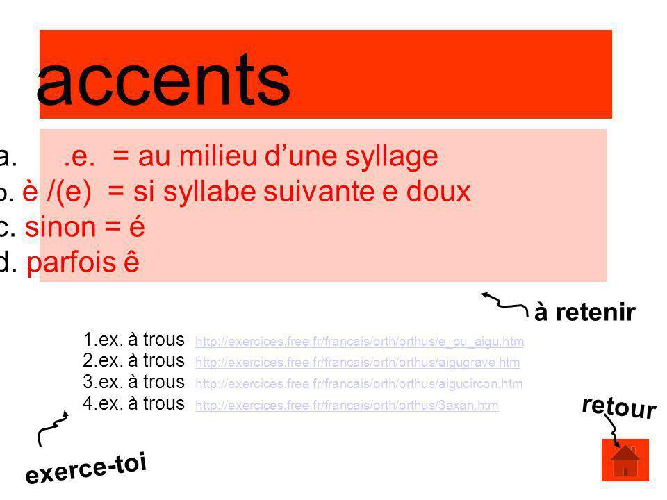 accents a..e. = au milieu dune syllage b. è /(e) = si syllabe suivante e doux c. sinon = é d. parfois ê 1.ex. à trous http://exercices.free.fr/francai