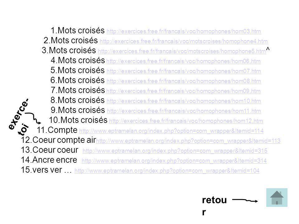 1.Mots croisés http://exercices.free.fr/francais/voc/homophones/hom03.htm http://exercices.free.fr/francais/voc/homophones/hom03.htm 2.Mots croisés http://exercices.free.fr/francais/voc/motscroises/homophone4.htm http://exercices.free.fr/francais/voc/motscroises/homophone4.htm 3.Mots croisés http://exercices.free.fr/francais/voc/motscroises/homophone5.htm ^ http://exercices.free.fr/francais/voc/motscroises/homophone5.htm 4.Mots croisés http://exercices.free.fr/francais/voc/homophones/hom06.htmhttp://exercices.free.fr/francais/voc/homophones/hom06.htm 5.Mots croisés http://exercices.free.fr/francais/voc/homophones/hom07.htm http://exercices.free.fr/francais/voc/homophones/hom07.htm 6.Mots croisés http://exercices.free.fr/francais/voc/homophones/hom08.htm http://exercices.free.fr/francais/voc/homophones/hom08.htm 7.Mots croisés http://exercices.free.fr/francais/voc/homophones/hom09.htm http://exercices.free.fr/francais/voc/homophones/hom09.htm 8.Mots croisés http://exercices.free.fr/francais/voc/homophones/hom10.htm http://exercices.free.fr/francais/voc/homophones/hom10.htm 9.Mots croisés http://exercices.free.fr/francais/voc/homophones/hom11.htm http://exercices.free.fr/francais/voc/homophones/hom11.htm 10.Mots croisés http://exercices.free.fr/francais/voc/homophones/hom12.htmhttp://exercices.free.fr/francais/voc/homophones/hom12.htm 11.Compte http://www.eptramelan.org/index.php?option=com_wrapper&Itemid=114 http://www.eptramelan.org/index.php?option=com_wrapper&Itemid=114 12.Coeur compte air http://www.eptramelan.org/index.php?option=com_wrapper&Itemid=113 http://www.eptramelan.org/index.php?option=com_wrapper&Itemid=113 13.Coeur coeur http://www.eptramelan.org/index.php?option=com_wrapper&Itemid=315 http://www.eptramelan.org/index.php?option=com_wrapper&Itemid=315 14.Ancre encre http://www.eptramelan.org/index.php?option=com_wrapper&Itemid=314http://www.eptramelan.org/index.php?option=com_wrapper&Itemid=314 15.vers ver … http://www.eptramelan.org/index.php?option=c