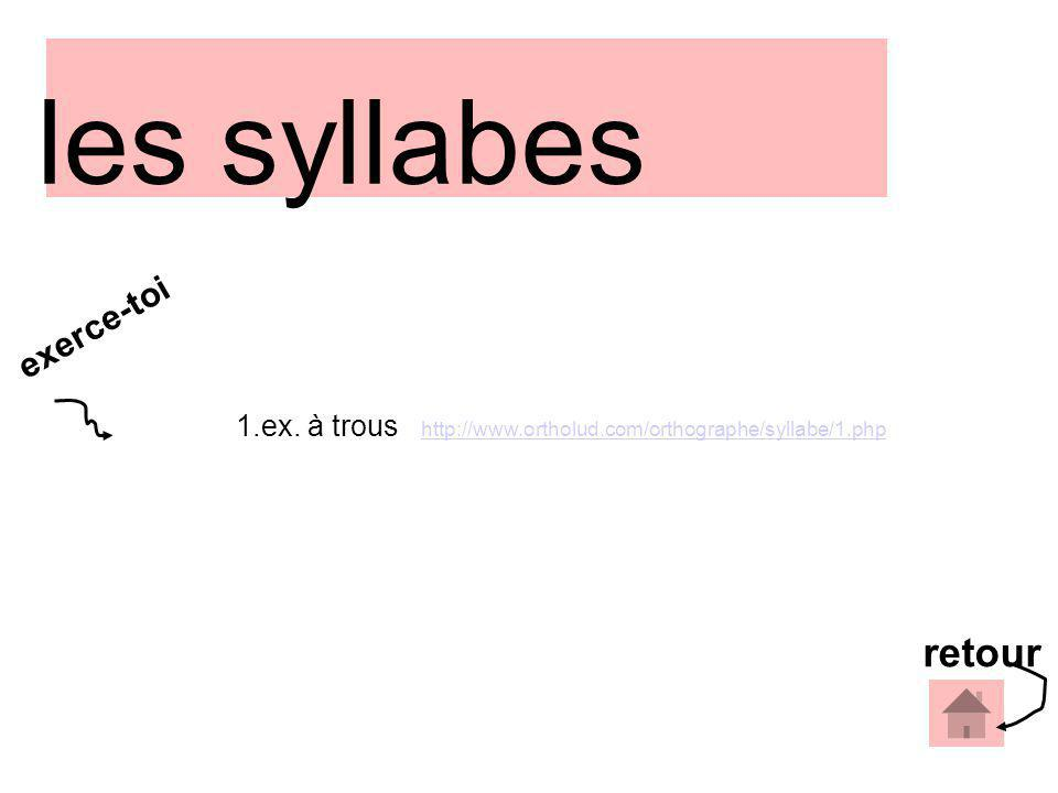 1.ex. à trous http://www.ortholud.com/orthographe/syllabe/1.php http://www.ortholud.com/orthographe/syllabe/1.php retour exerce-toi les syllabes