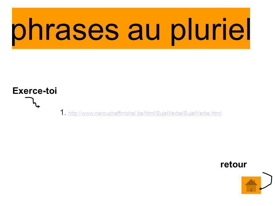 phrases au pluriel 1. http://www.neroucheffmichel.be/html/SujetVerbe/SujetVerbe.html http://www.neroucheffmichel.be/html/SujetVerbe/SujetVerbe.html re